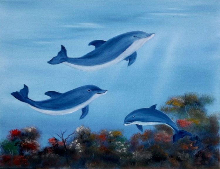 Smiling Dolphins at play.SOLD - Image 0