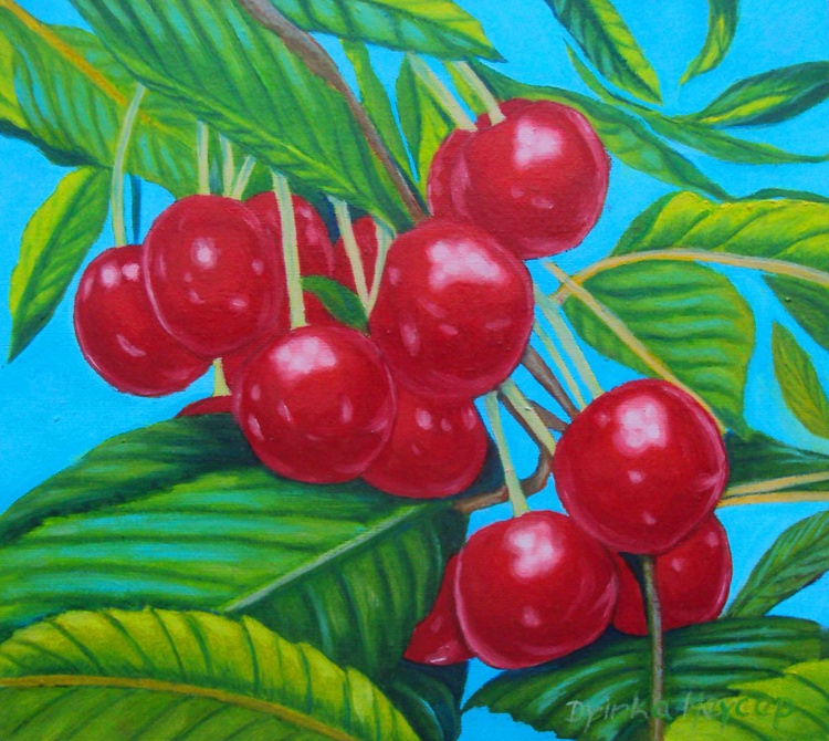 Cherries on a Tree Original Oil Painting on Canvas - No. 3 - Image 0