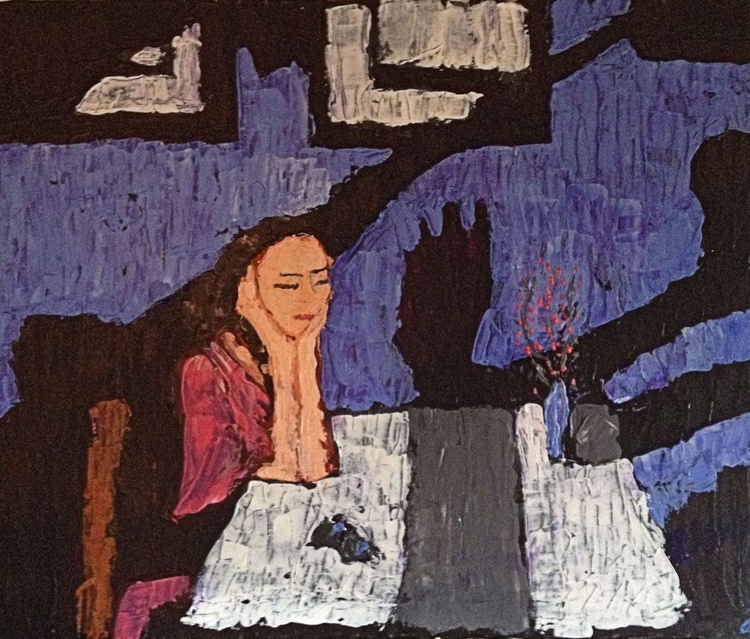 """Waiting in Peace (2016) - Acrylic Painting - 23.62 x 19.69"""" - FREE SHIPPING - Image 0"""