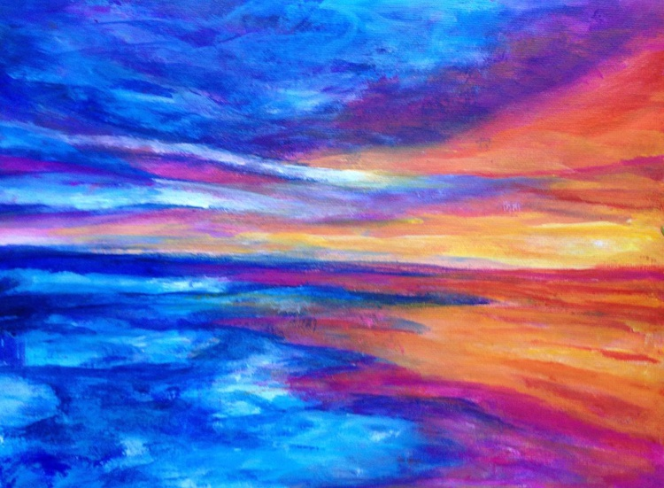 Abstract Acrylic Landscape Painting - Seascape Sunset #1 Acrylic on Canvas Paper - Image 0