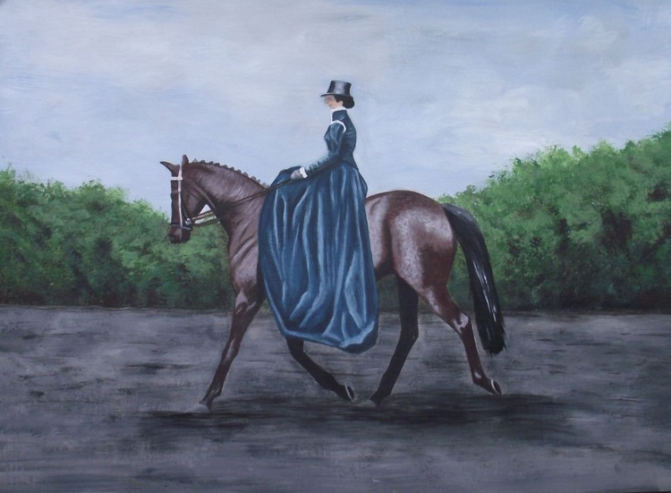 Woman in blue dress on horse - Image 0