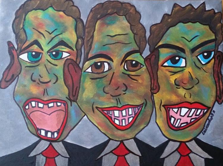 The 3 Stooges - Unique Handpainted Canvas - Image 0