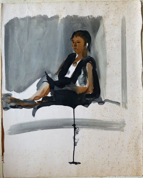 Woman sitting on the Bed 69x56 cm - Image 0