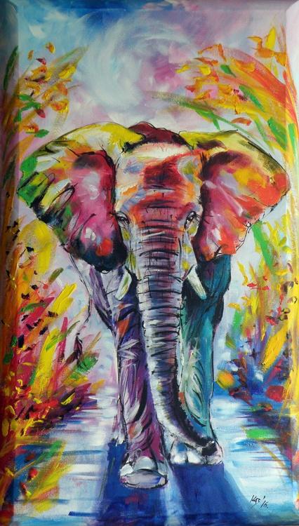 Colorful elephant (70 x 40 cm) on 3D canvas - Image 0