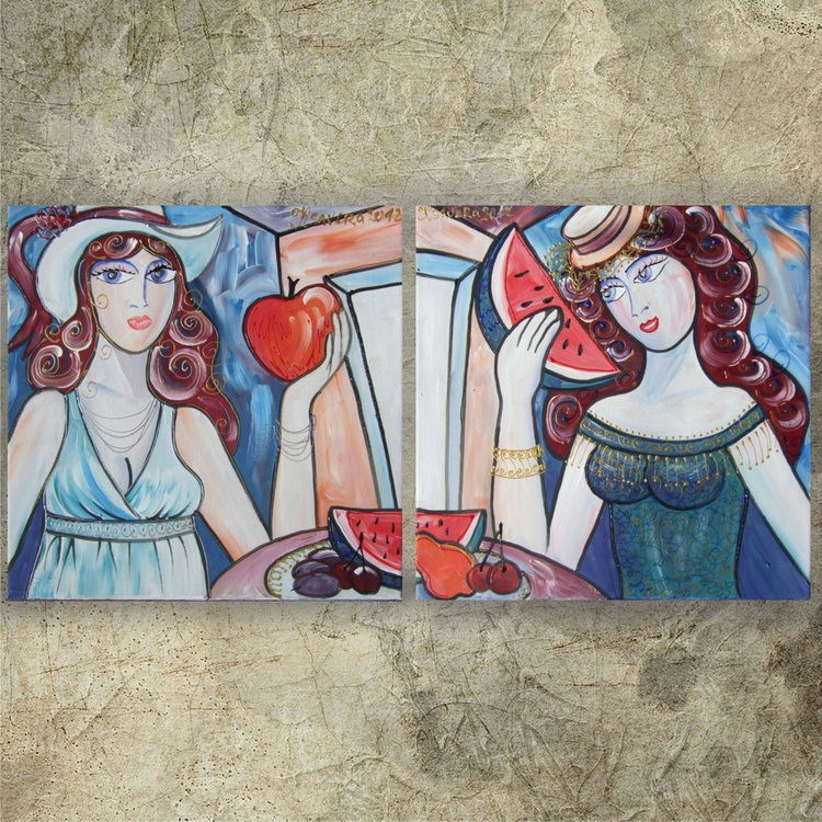 Burlesque 72-73 Portrait of Girlfriends Girls in Paris diptych 40x80 cm Paintings diptych coffee shop decor Beautiful Women acrylic on stretched canvas wall art by artist Ksavera - Image 0