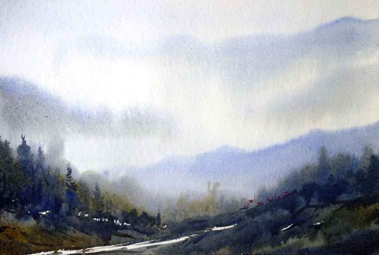 Mysterious Himalaya -Watercolor on Paper -