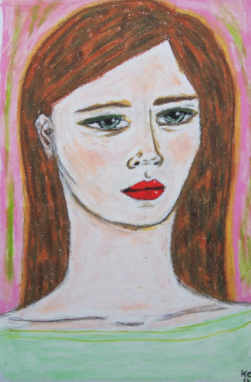 Portrait in a Mint Top, Pastel - Image 0
