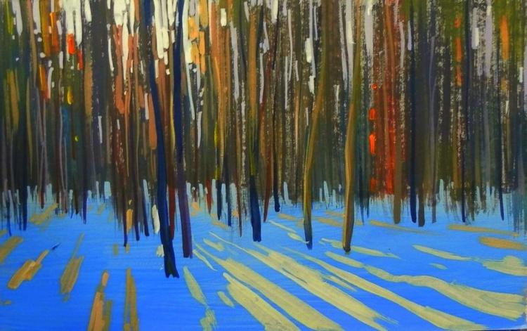 Forest. Original painting 30x18.5 cm - Image 0