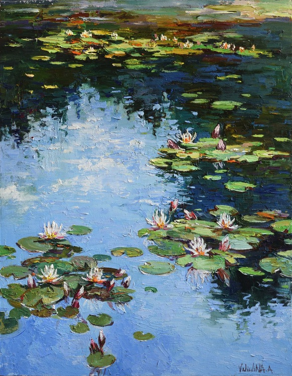 Water lilies Original Oil painting 65 x 80 cm Free Shipping - Image 0