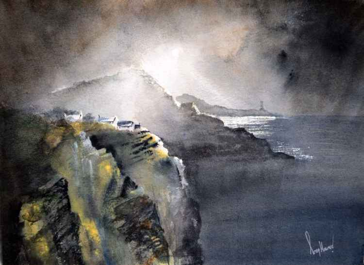 Moonlit Cove - Original Watercolour Painting