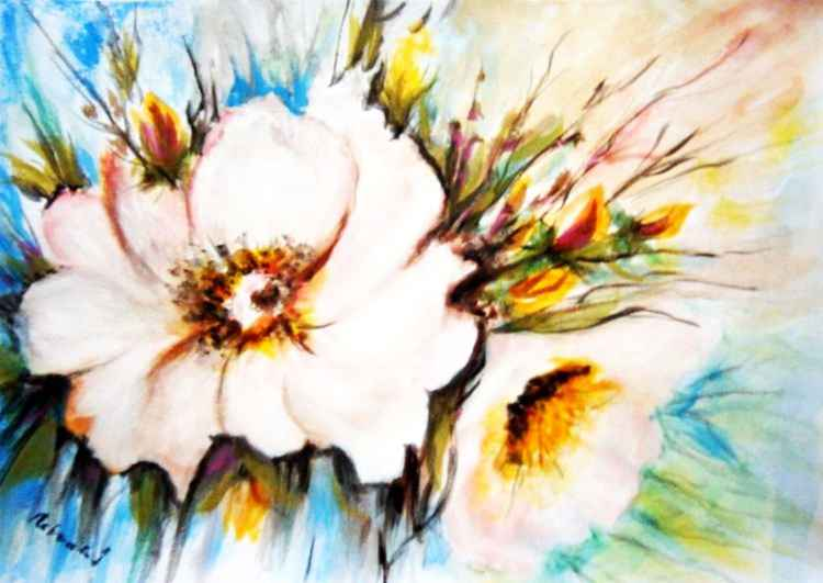 Flowers in the garden - watercolor .. -