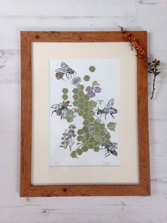 Is there Honey still for Tea?: Framed Linocut, Ready to Hang, FREE UK DELIVERY - Image 0