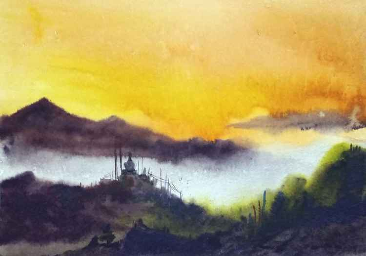 Cloudy Himalaya Mountain Sunrise - Watercolor on Paper -