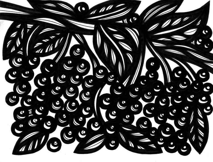 Botanical Leaves Berries Original Drawing -