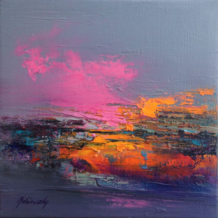 Undiscovered Places - 20 x 20 cm, abstract landscape oil painting, gray, purple, magenta, pink, orange - Image 0