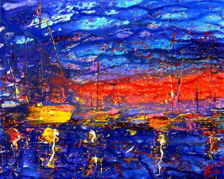 Evening yachts, original painting 100x80 cm -