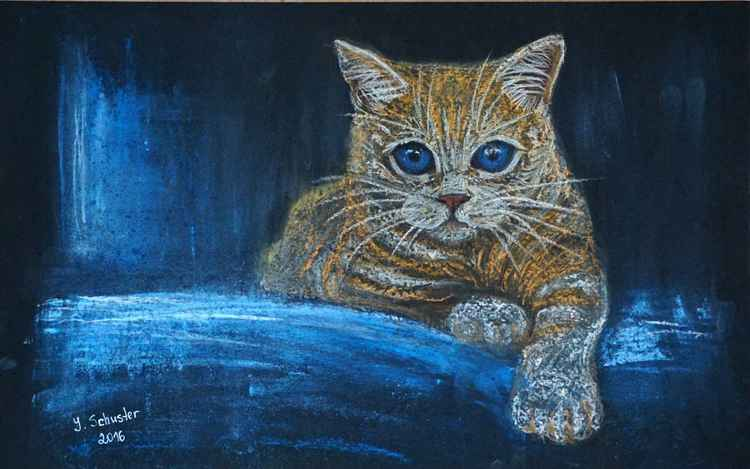 Pastel drawing of  red cat -