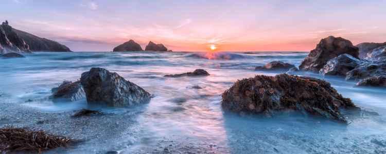 Holywell bay sunset -