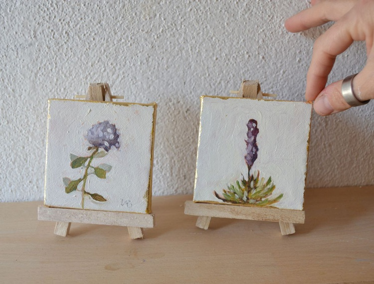 Set of 2 Mini Botanical Flower Oil Paintings - Image 0