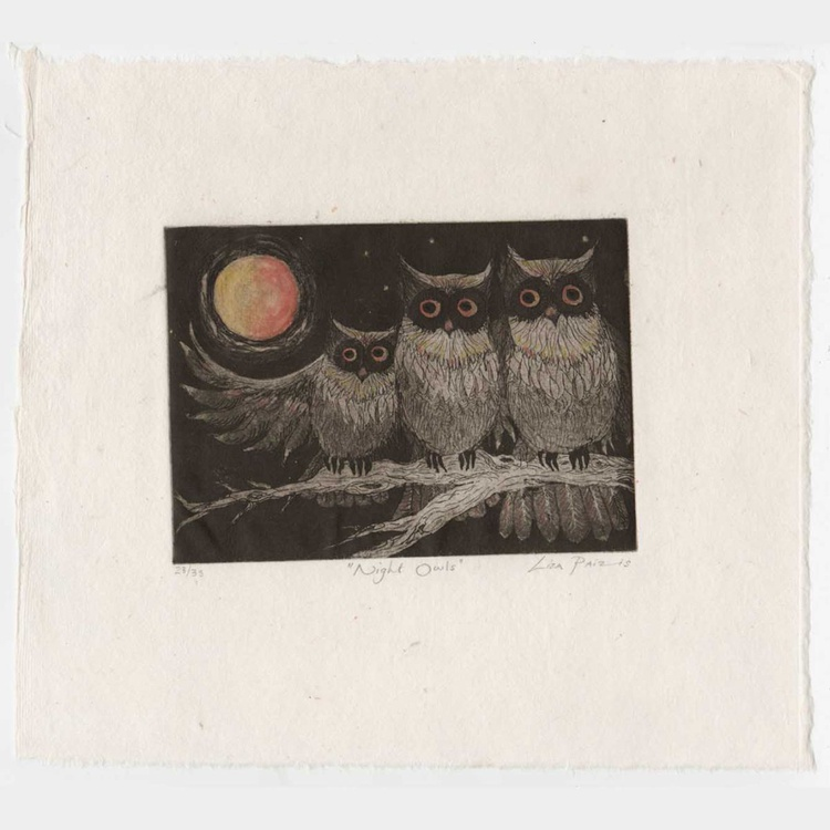 Night Owls limited edition intaglio etching and aquatint - Image 0
