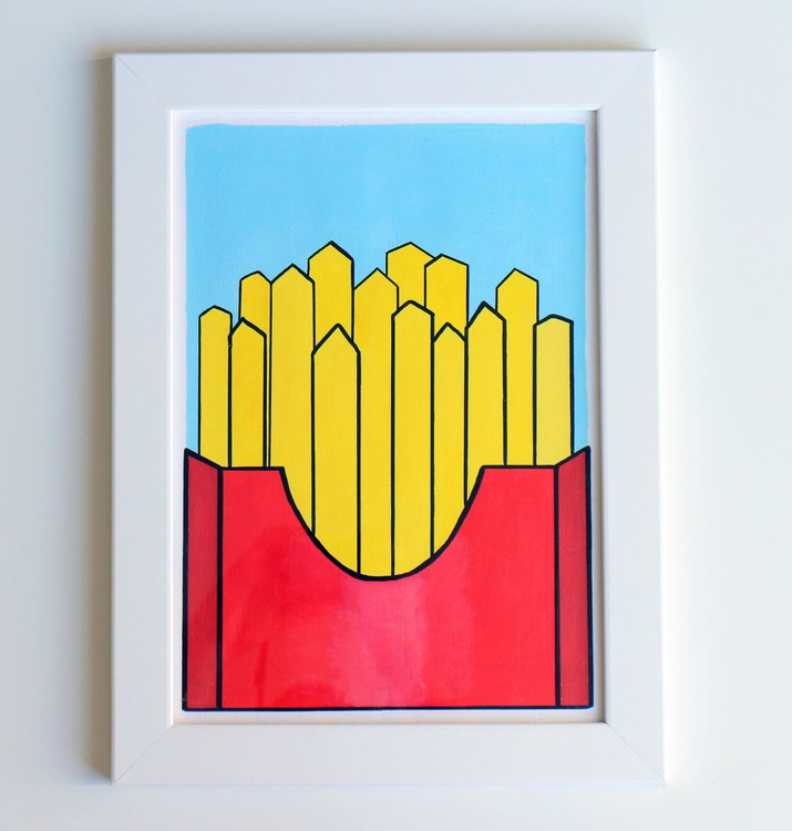 French Fries Pop Art Painting On A4 Paper - Image 0