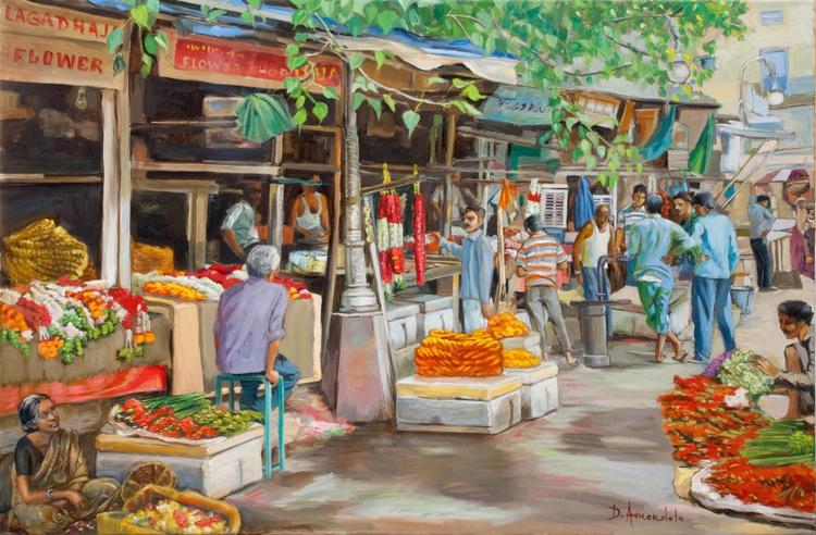 India Flower Market Street - Image 0