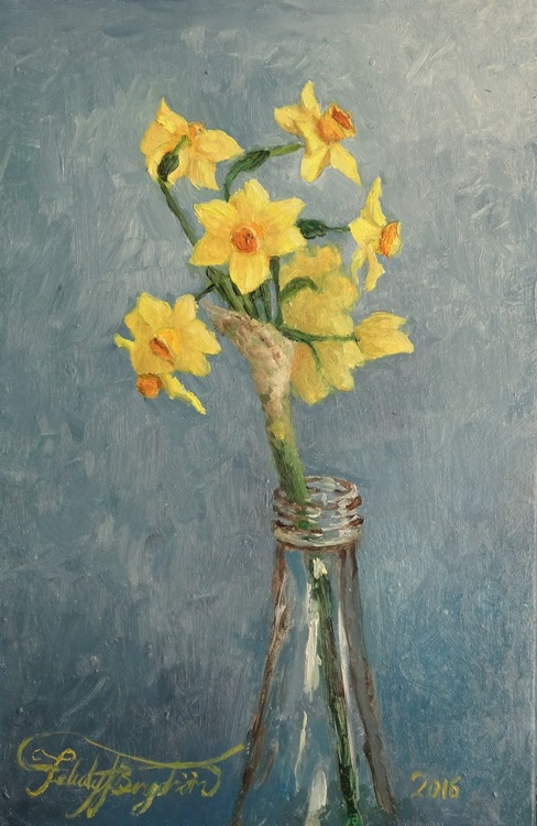 'Daffodils in Blue' (Little Flower Painting #1) - Image 0