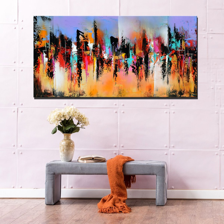 Never Ending Summer - Abstract expressionist painting, 48x24 abstract contemporary painting purple  blue red orange gold - Image 0