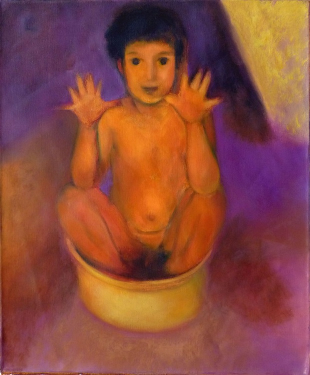 The bath time, oil on canvas 65x54 cm - Image 0