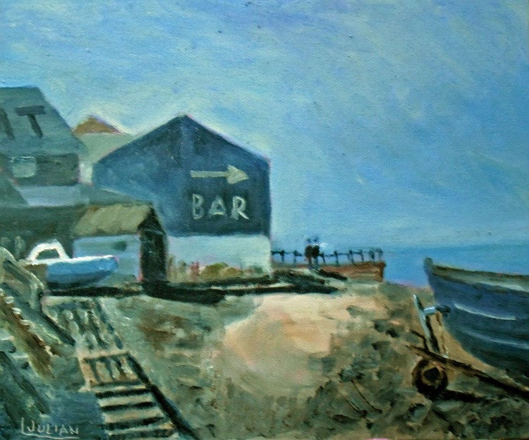 Afternoon Shadows at Whitstable - An original Oil Painting on board. - Image 0