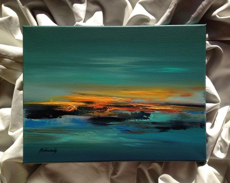 Last sunbeams #3 - 30 x 40 cm, turquoise, red, orange, grey abstract landscape - Image 0