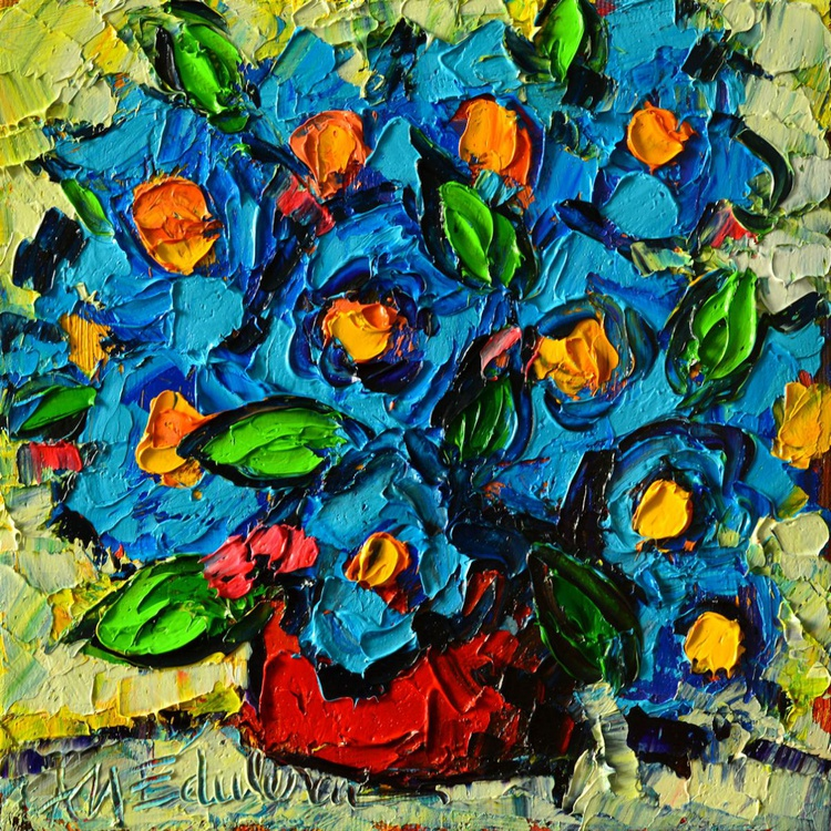 ABSTRACT BLUE POPPIES IN RED VASE - Image 0