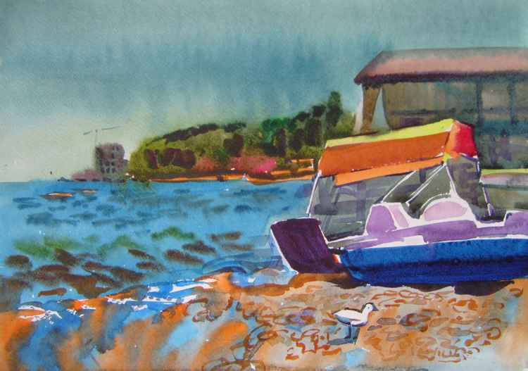 Boat, original watercolor painting 45x32 cm