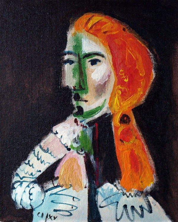"""Knight with orange hair (V / from my """"Hommage à Picasso"""" series) - Image 0"""