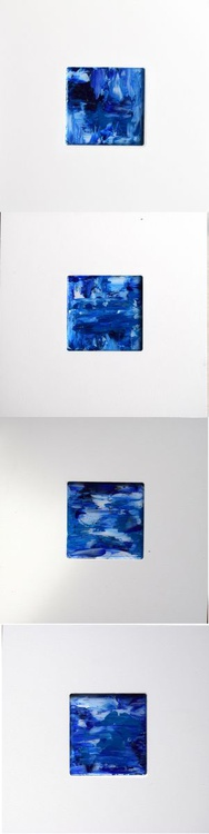 A touch of blue / FRAMED Abstract 104 cm x 26 cm - Image 0