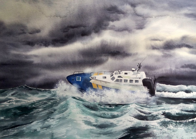 Boat in stormy sea.  Master, the tempest is raging! - Image 0