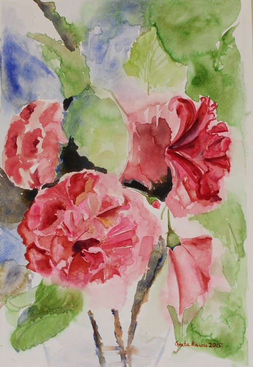 Hibiscus flowers still life In Impressionistic Style in watercolor - Image 0