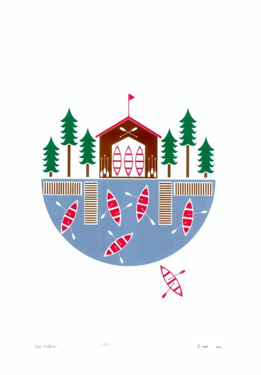 Lake Boathouse - Unframed - FREE Worldwide Delivery - Image 0