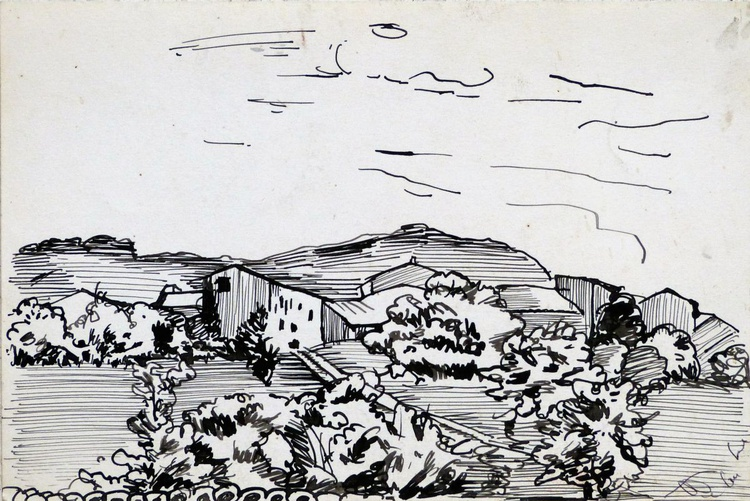 Village in the Pyrenees #3, 24x16 cm - Image 0