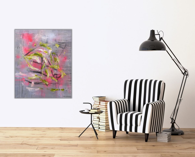 Space Odyssey #2 | large abstract Painting | 120x 100cm | pink green silver black - Image 0