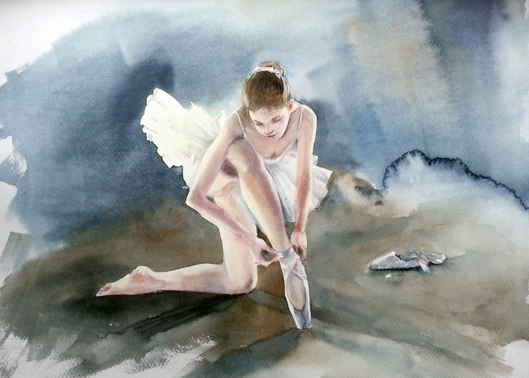 Young ballerina preparing for a show - Image 0