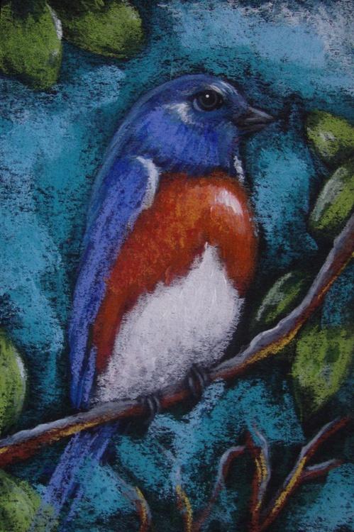 """BLUE BIRD IN MY GARDEN 4"""" X 6"""" - Image 0"""