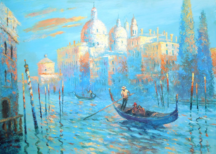 Blue Venice - Palette Knife Oil Painting on canvas by Dmitry Spiros. Size: 70cm x 97cm. - Image 0