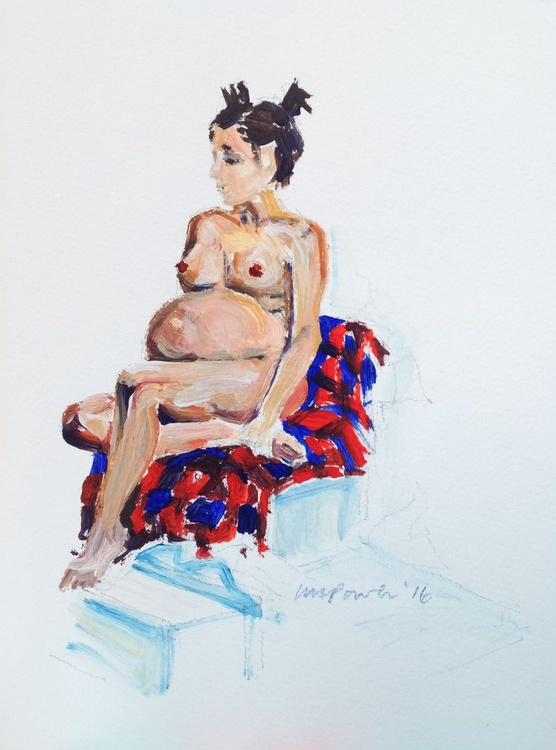Pregnant Nude on a checked blanket - life drawing #04 - Image 0
