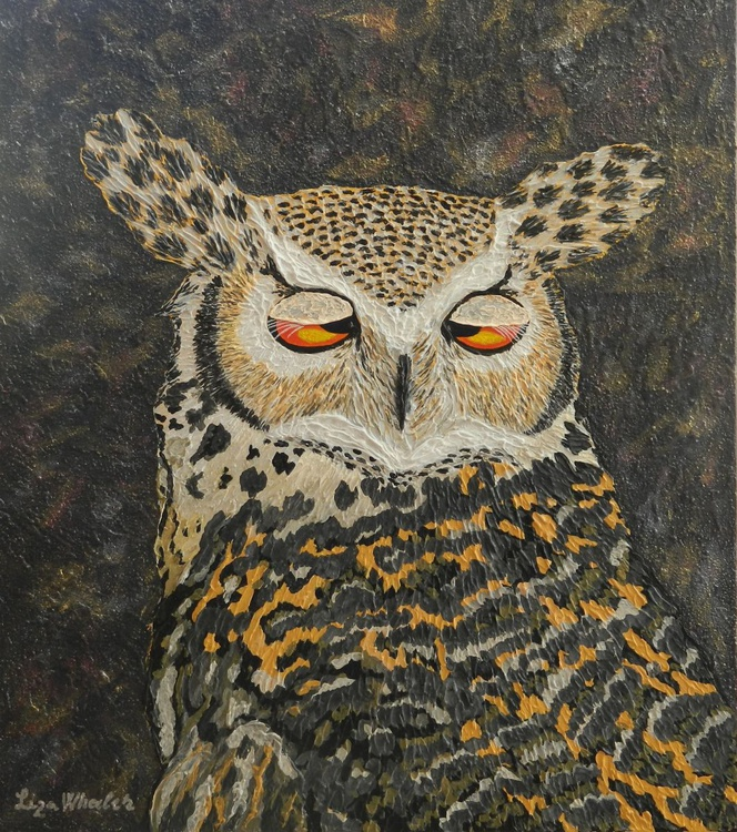 Coffee - Original, unique, impressionist horned owl acrylic impasto palette knife painting with texture - Image 0
