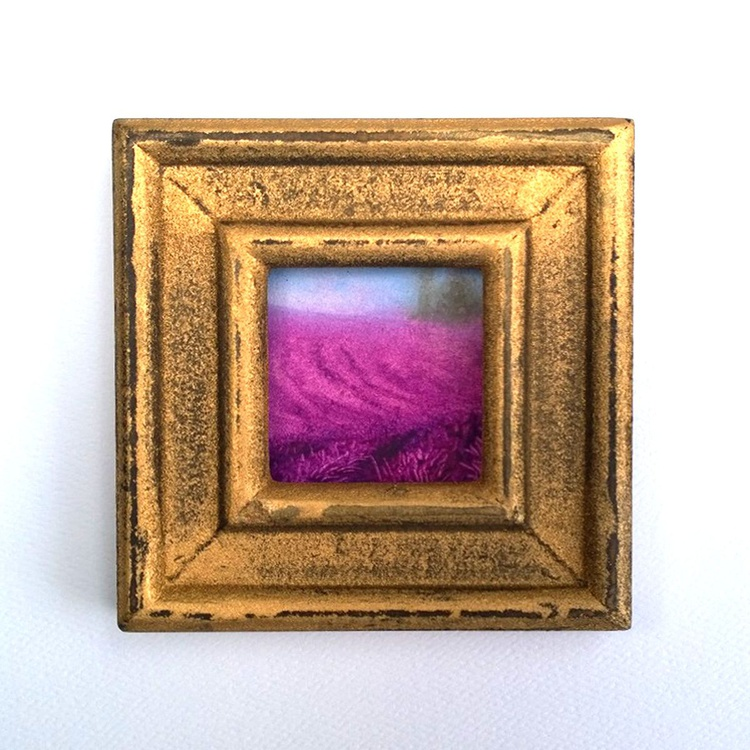 Rolling Rows Mini Framed Contemporary Oil Painting - Image 0