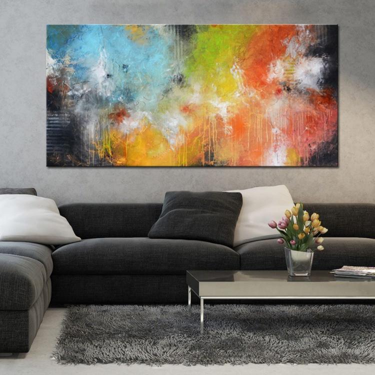 Silent Fellowship, abstract mixed media painting ready to hang. - Image 0