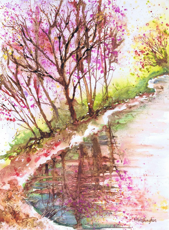 Pink Trees by the Water - Image 0