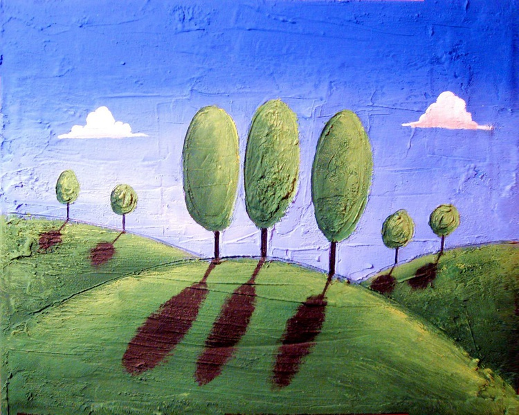 landscape original tree texure painting art canvas - Return to Eden- abstract painting  - Image 0