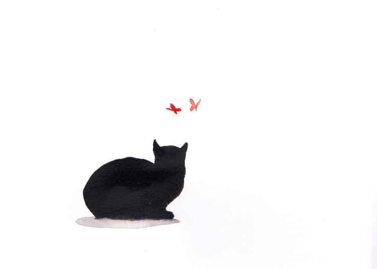 Cat and two butterflies 2115A